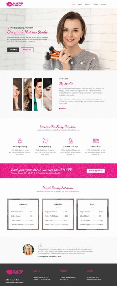 Make Up Artist Web Design